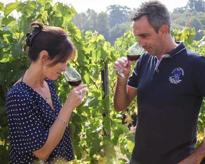 Alain Bessette and his wife at Chateau La Verriere