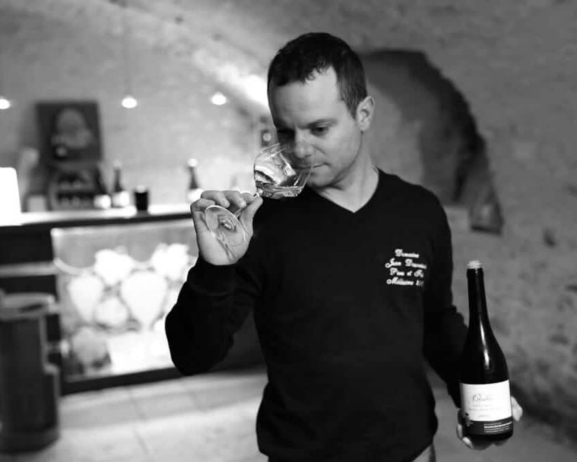 Winemaker sampling the new vntage of Chablis at Jean Dauvissat